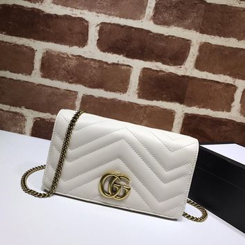 Kuyou Gb1986 Gucci 488426 White Wave Leather Small Shoulder Bag 18*10*5cm