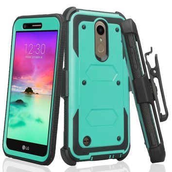 LG K10 (2018) Case, K30, Premier Pro, K10 Plus, K10α, X4 Plus, X410, MS245, Triple Protection 3-1 w/ Built in Screen Protector Heavy Duty Holster Shell Combo Case - Teal