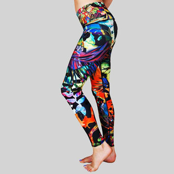 Print Stretch Gym Hip Up Sports Pants Yoga Leggings [10182760135]