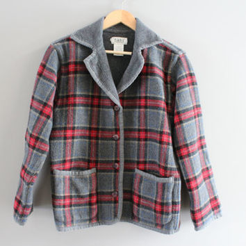 Check Fleece Blazer Red Plaid Tailor Collar Fleece Jacket Patch Pocket Grey Fleece Minimalist Vintage 90s Size S - M
