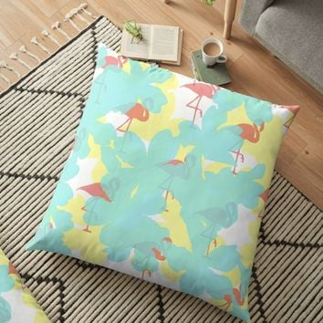 'Primroses and flamingos' Floor Pillow by by-jwp