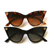 The Stoned Kitty- Weed charm embellished Super pointy Cat Eye Sunglasses