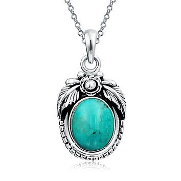 Native American Style Turquoise Round Feather Sterling Silver Pendant