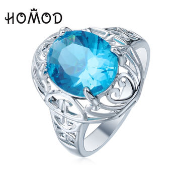 HOMOD Unique Jewelry Blue Oval Zircon Stone Ring sliver plated Filled WeddingRings For Women Men gift