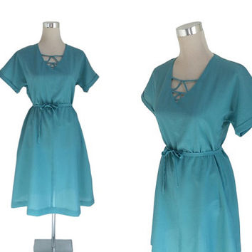 1950's Day Dress - Vintage 50s 60s - Turquoise Blue Seersucker Summer Dress