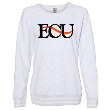 Official NCAA East Central Tigers PPEASTU06 Women's Crewneck Sweatshirt with White Striped Edges