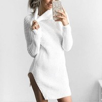 Winter Women Sweater Dress High-Necked Irregular Long Slim Turtleneck Knitted Sweater Dress Women Winter Dress