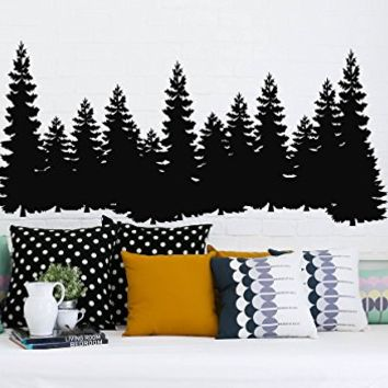 "Pine Trees Wall Decal Forest Landscape Nature Vinyl Sticker Merry Christmas Decorations Decals Home Decor Bedroom Nursery Interior NV129 (22"" Wide x 10"" Tall)"