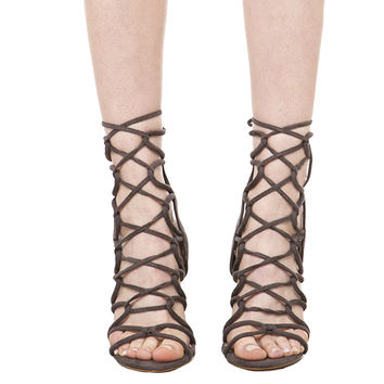 Lace Up Heeled Sandals - Grey Suede