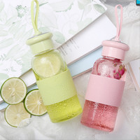 Outdoor Water Bottle Leakproof Heat-resistant Screw Top Lid Transparent Bottle