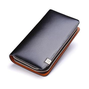 Leather Men Wallets Zipper Coin Purse Holders Design Leather Male Wallet Large Capacity Wallet for Men