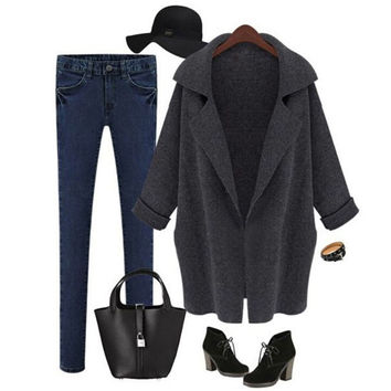 Womens Ladies Long Sleeved Sweater Coat Outwear Classic Loose Wool Cardigan Autumn Winter +Free Christmas Gift -Random Necklace