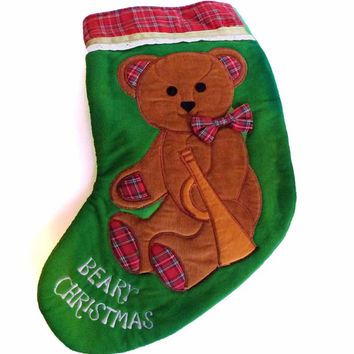 Set of Vintage Beary Christmas Stockings Dakin 1984 Teddy Bear with Horn Embroidery & Applique Plush 3D Bow Tie with Red Plaid Holiday Decor