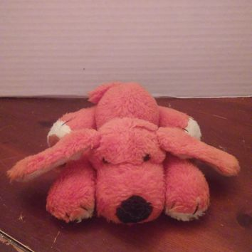 vintage rust puppy dog plush laying down stuffed animal