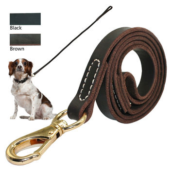 Heavy Duty Handmade Leather Dog Leash Lead Dark Brown Black With Gold Hook Best for Walking Training All Dog Breeds 4 Sizes