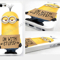 case,cover fits iPhone models>minion,Minions Despicable Me 2015,I'm with Stupid.