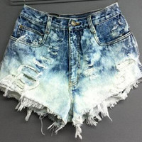 Summer Women Shorts Leisure High Waist Denim Hole Fringe Jeans
