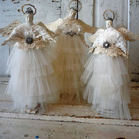 Handmade white angels assemblage art ethereal dancing figure group French Nordic wispy angelic winged dolls collectibles anita spero design