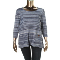 JM Collection Womens Plus Metallic Knit Pullover Sweater