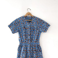Vintage romper. Batik printed jumper. Cotton one piece shorts + short sleeve top. Button up romper. Ethnic print.