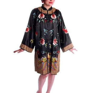 Antique Womens Chinese Coat Robe Embroidered Magnificent 1920s