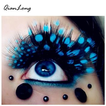 Exaggerated Party Feathers False Eyelashes Peacock Spot Modeling Makeup False Eyelash Brand Beauty Makeup for Club Pub 8 Colors