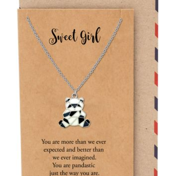 Maisie Panda Pendant Necklace, Gifts for Women, Inspiring Necklace for Teens with Greeting Card