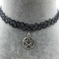 Tattoo Choker with Silver Pentagram