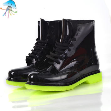 Ladies Rain Boots Ankle Boot Platform Women Fashion Flat Snow boots Black Waterproof Winter In Spring and Autumn