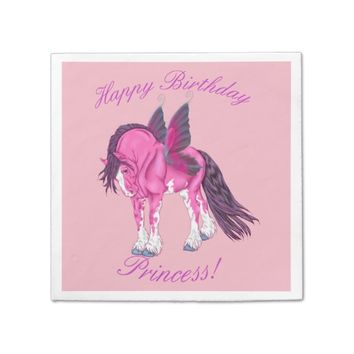 Pink Clydesdale Fantasy Fairy Horse Paper Napkin