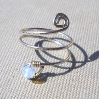 Moonstone Wrapped Hammered Silver Wire Spiral Ring
