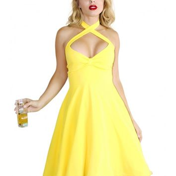 b145ddf287 Demi Loon Women's Holly Halter Pinup Dress - Yellow