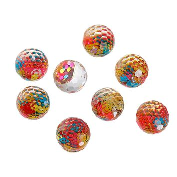 MJARTORIA 50PCs Mermaid Scale Pattern Cabochons Resin Mini Cameo Cabochon Fit Base Settings DIY Accessories For Jewelry Making