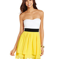 Miss Chievous Juniors Dress, Strapless Tiered Colorblock - Juniors Dresses - Macy's