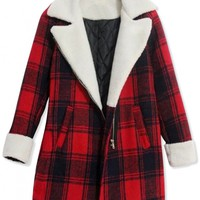 Classic Long Sleeve Plaid Lapel Woolen Coat - OASAP.com