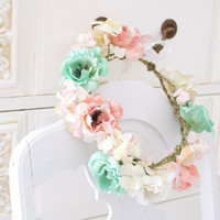 Mint and apricot Flower Crown, paper anemone and old rose hydrangea Halo, peach Blush, mint crown