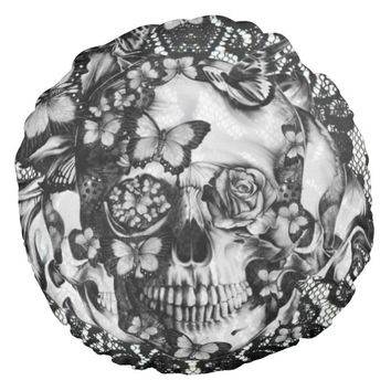 Victorian gothic, butterfly lace skull round pillow
