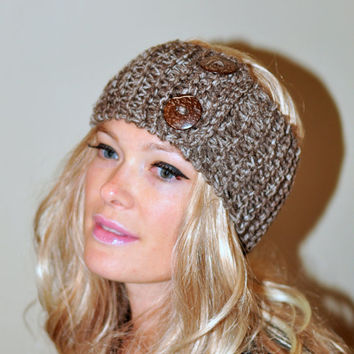 Earwarmer Buttons Head wrap Crochet Headband Ear warmer CHOOSE COLOR Birch Brown Warm Hair Band Button Gift under 25