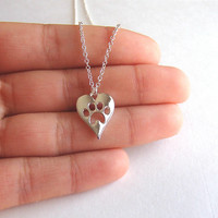 Dog Paw Necklace, Dog Paw Print Necklace, Dog Puppy Jewelry, Dog Inspired Pendant Necklace