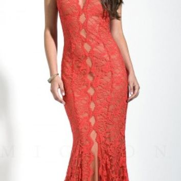 Keyhole illusion lace prom dresses by Mignon