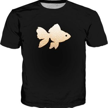 Gradient orange and white swirls doodles Goldfish Classic T-Shirt Black