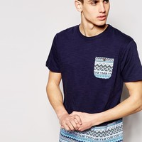 Bellfield T-Shirt with Aztec Printed Pocket & Hem Panel