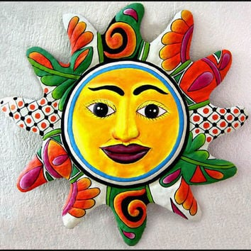 "24"" Hand Painted Metal Sun Wall Hanging - Recycled Haitian Steel Drum Garden Art - M-101-OR-24"