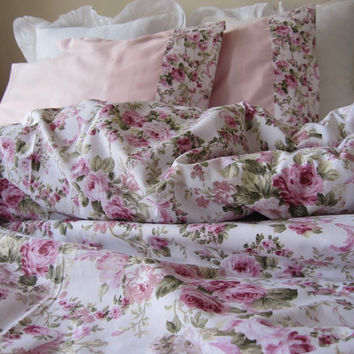 shabby chic Bedding green Pink roses floral print Twin/Full/Queen/Cal King duvet cover with matching pillow cases - romantic bedroom