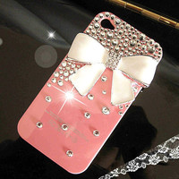 iphone case, iphone 5 case, iphone 5G case, iPhone 5 White bow Case, bling iPhone 5 case, Pink iPhone 5 Case, Crystal iphone 5G cover