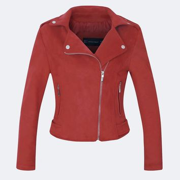Solid Color Lapel Collar Oblique Zipper Women Slim Cropped Jacket Coat