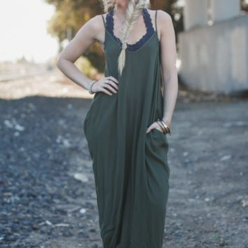 Perfection Pocket Maxi Dress - Olive