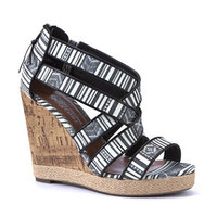 Monochrome Aztec Cross Strap Cork Wedges