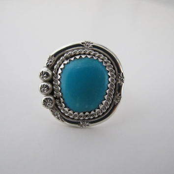 Navajo Turquoise Ring Size 5 1/2 - 1/4, Sterling Silver Southwestern, Native American Round Light Blue Statement Ring, Stars Blue Sky Tribal