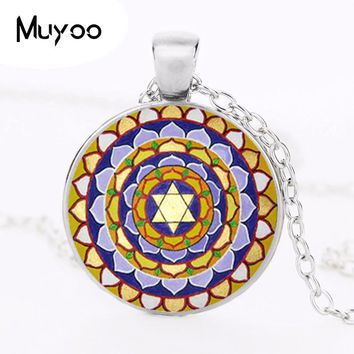 Mandala Necklace Om Symbol Pendant Glass Cabochon Jewelry Namaste Sweater Necklace Yoga Neckless Women Meditation Jewellery HZ1